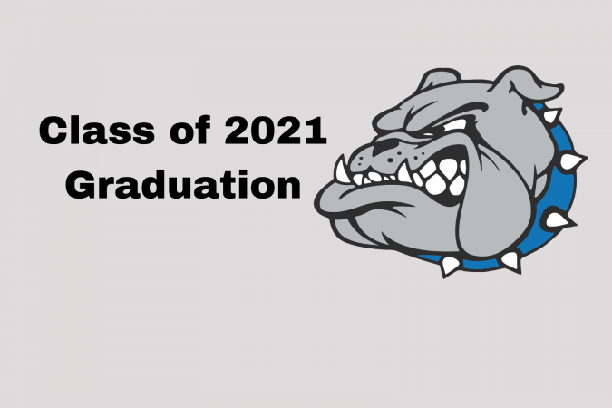 Class of 2021 Graduation text and bulldog graphic
